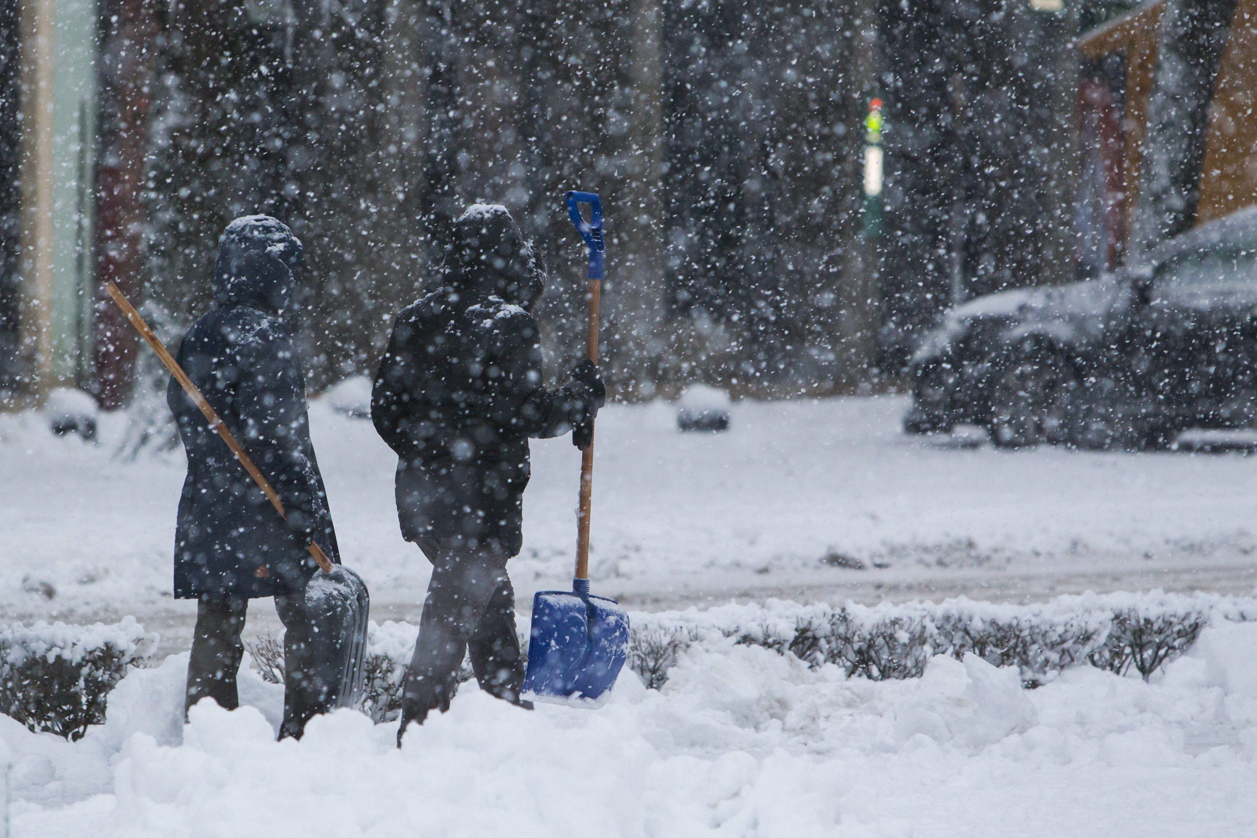 Heavy snowfall in Nagykanizsa, Hungary